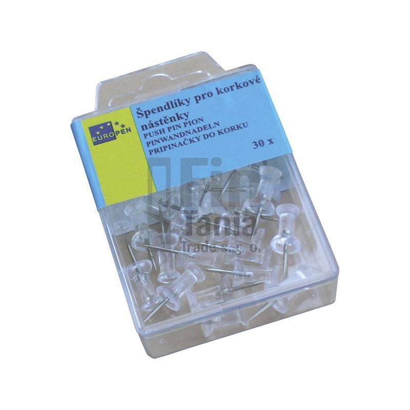 Špendlíky čiré s plastovou hlavou (korková nástěnka) 036402000