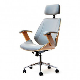 Designová židle Lady, kombinace dřeva buk a světlá kůže