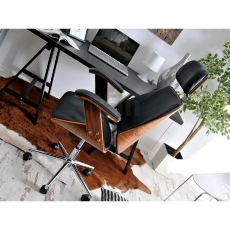 Designová židle Lady, kombinace dřeva ořech a černá kůže