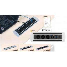 OfficePro VAULT BTCZ 003 zásuvkový panel, 3 x el. zásuvka, 2 x data, VGA zámek