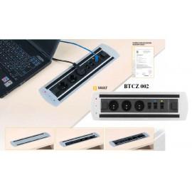 OfficePro VAULT BTCZ 002 zásuvkový panel, 3 x el. zásuvka, 3 x data