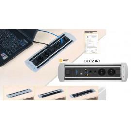 Office Pro VAULT BTCZ 043 zásuvkový panel 2x el.,2x data, video,VGA,USB,HDMI zámek