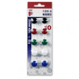 Magnety na tabule v plastu barevné 15mm / sada 10 ks