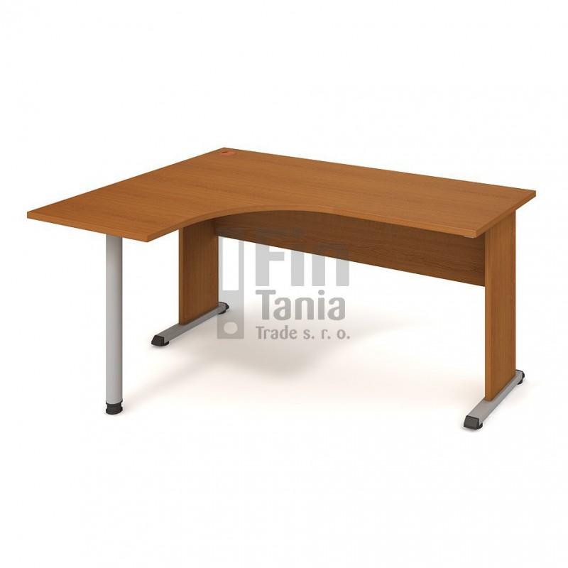Psací stůl Hobis Proxy PE 60 pravý - 160 x 120, Barva podnože černá, Barva nohou celobarva, Barva stolové desky Olše Office Pro 099040600 Psací stoly