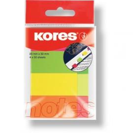 Samolepicí bloček KORES, 20 x 50 mm, neon záložky