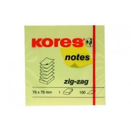 Samolepicí bloček KORES 75 x 75 mm, ZZ žlutý