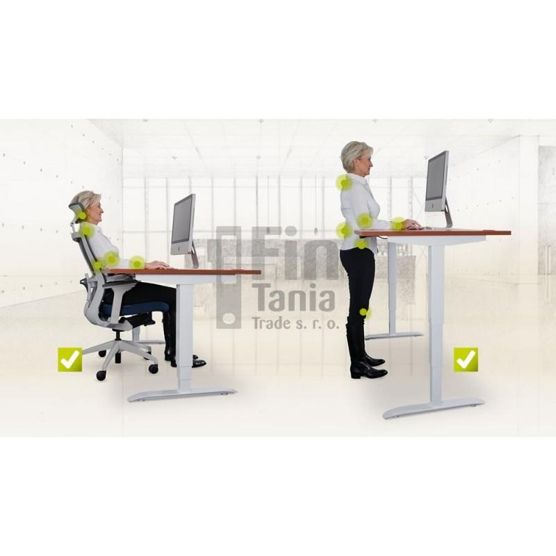 Rostoucí stůl Hobis Motion ERGO MSE 3 1600 - 160 x 90, Barva Šedá, Barva nohou Bílá RAL 9016 Office Pro 099803200 Psací stoly