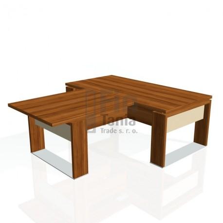 Stůl psací + jednací EXNER ES 2 S, sklo - 200x220x74