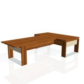 Stůl psací + jednací EXNER ES 3 S, sklo - 200x300x74