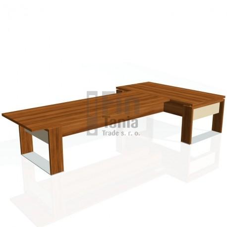 Stůl psací + jednací EXNER ES 4 S, sklo - 200x370x74