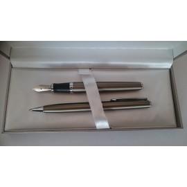 Psací souprava-kuličkové pero + plnící pero INOXCROM WALL STREET Titanium grey
