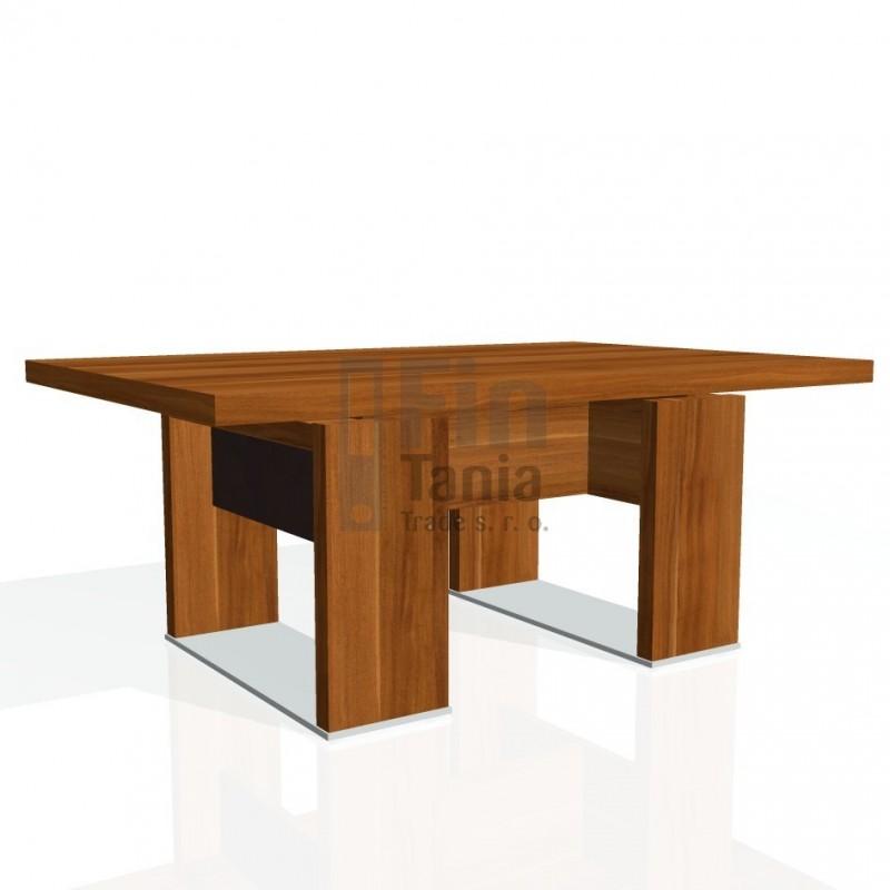 Stůl konferenční EXNER EJ 6 K, kůže - 120x80x50, Barva Dub antracit, Kůže Světlá kůže Exner 072071702