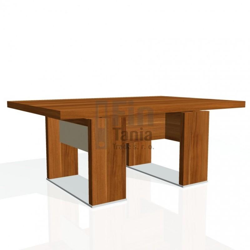 Stůl konferenční EXNER EJ 6 S, sklo - 120x80x50, Barva Dub antracit, Barva skla Hnědá Exner 072071701