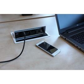 Multimedia zásuvkový panel výklopný, 2x el. zásuvka, 2x data, VGA, USB, HDMI - ilustr.foto