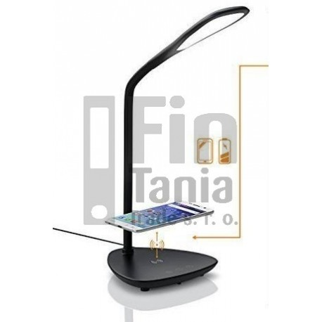 stolní LED lampa s Qi nabíjecí podložkou, černá