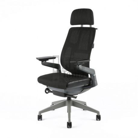 OfficePro kancelářská židle KARME MESH, síťovaný opěrák, podhlavník, černá