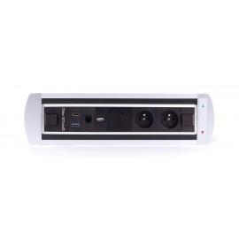 OfficePro Vault BTCZ 015 zásuvkový panel, 2xle.zásuvka, 1x Qi nabíjení, 1x USB nabíječka, 1x USB 3.0, 1x HDMI, 1x data