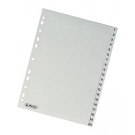 Rozdružovač A4 číselný, 1-20 šedý plast