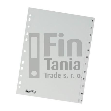 Rozdružovač A4 číselný, 1-12 šedý plast