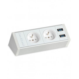 Office Pro PECZ W 001 zásuvkový panel na hranu stolu, bílý